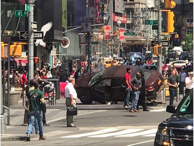 Speeding vehicle  hits pedestrians in Times Square
