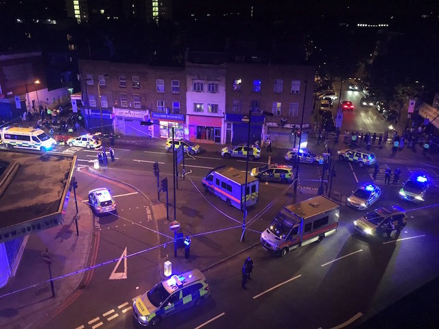 Vehicle ploughs through crowd near London mosque